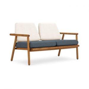 Canapea cu 2 locuri pentru exterior, constructie lemn masiv de salcam Calme Jardin Capri Premium, alb - albastru inchis