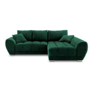 Canapea extensibila cu invelis de catifea Windsor & Co Sofas Nuage, pe partea dreapta, verde
