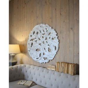 Decoratiune de perete din lemn de mango Orchidea Milano Rosone Antique, ø 100 cm, alb