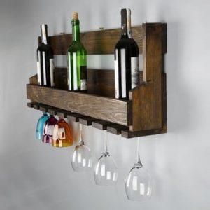 Stand pentru vin fabricat manual, din lemn masiv cu suport pentru pahare Catalin Faina, 90x30x12cm