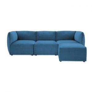 Canapea modulara cu 3 locuri si suport pentru picioare Vivonita Velvet Cube, albastru