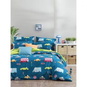 Lenjerie de pat cu cearsaf din bumbac ranforce, pentru pat dublu Mijolnir Paula Blue, 160 x 220 cm