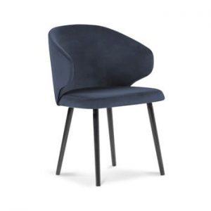 Scaun cu invelis de catifea Windsor & Co Sofas Nemesis, albastru inchis