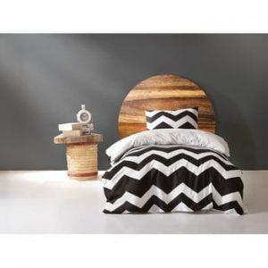 Set lenjerie si cearsaf din bumbac pentru pat single James, 160 x 220 cm