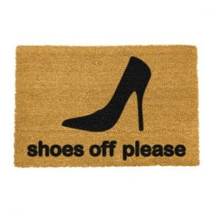 Covoras intrare din fibre de cocos Artsy Doormats Shoes Off Please, 40 x 60 cm