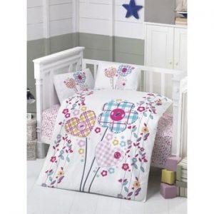 Lenjerie de pat din bumbac pentru copii Flowers, 100 x 150 cm