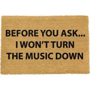 Covoras intrare din fibre de cocos Artsy Doormats Loud Music, 40 x 60 cm