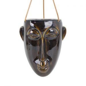 Ghiveci suspendat PT LIVING Mask, inaltime 22,3 cm, maro inchis