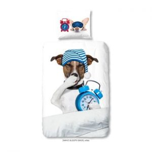 Lenjerie de pat din bumbac pentru copii Muller Textiels Premento Sleepy Dog, 140 x 200 cm