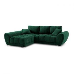 Canapea extensibila cu invelis de catifea Windsor & Co Sofas Nuage, pe partea stanga, verde