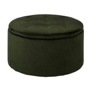 Taburet cu spatiu de depozitare Actona Vic, ⌀ 60 cm, verde inchis