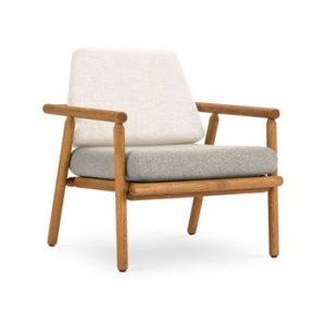 Fotoliu pentru exterior, constructie lemn masiv de salcam Calme Jardin Capri Premium, alb crem