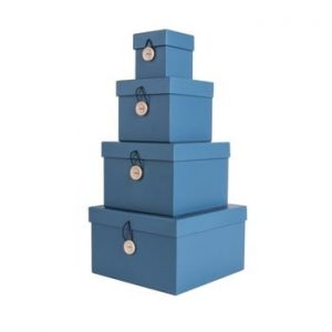 Set 4 cutii de depozitare PT LIVING Uniform, albastru