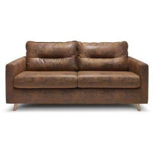 Canapea extensibila cu 3 locuri Bobochic Paris Sinki Vintage, maro caramel