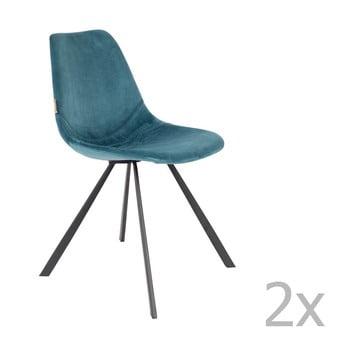 Set 2 scaune cu tapiterie catifelata Dutchbone Franky, albastru petrol