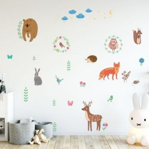 Set autocolante pentru perete Ambiance Scandinavian Animals of The Forest