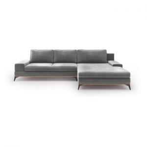 Canapea extensibila cu invelis de catifea Windsor & Co Sofas Astre, pe partea dreapta, gri