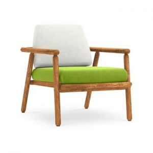 Fotoliu pentru exterior, constructie lemn masiv de salcam Calme Jardin Capri, gri deschis - verde deschis