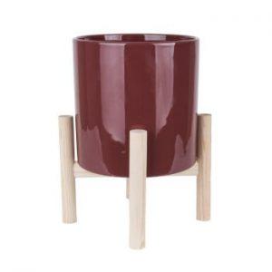 Ghiveci din ceramica pe suport din lemn de pin PT LIVING Trestle, rosu