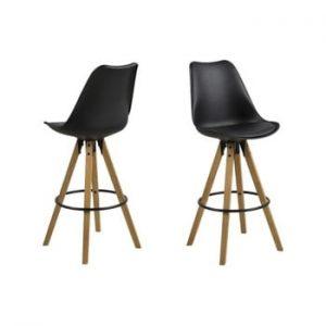 Set 2 scaune de bar Actona Dima, negru