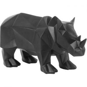 Statueta PT LIVING Origami Rhino, negru mat