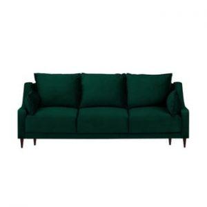 Canapea extensibila cu 3 locuri si spatiu de depozitare Mazzini Sofas Freesia, verde
