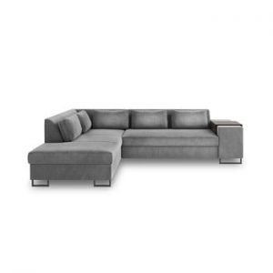 Canapea extensibila cu sezlong pe partea stanga Cosmopolitan Design San Diego, gri