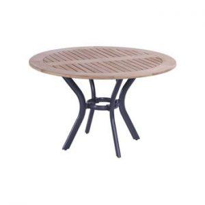Masa dining de gradina din lemn de tec si baza metalica Hartman South Wales, ø 120 cm