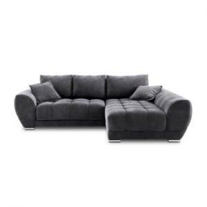 Canapea extensibila cu invelis de catifea Windsor & Co Sofas Nuage, pe partea dreapta, gri inchis