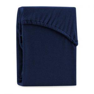Cearsaf elastic pentru pat dublu AmeliaHome Ruby Navy Blue, 180-200 x 200 cm, albastru inchis