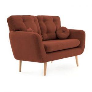 Canapea cu 2 locuri Vivonia Malva, rosu inchis