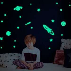 Set autocolante fosforescente de perete Ambiance Rocket Stars Planets