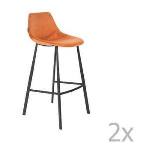 Set 2 scaune bar cu tapiterie catifelata Dutchbone, inaltime 106 cm, portocaliu