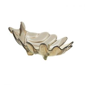 Bol din sticla reciclata Mauro Ferretti Leaf, 33x20cm, gri