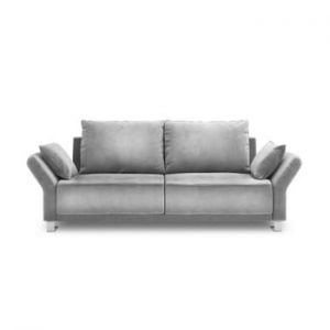Canapea extensibila cu invelis de catifea cu 3 locuri Windsor & Co Sofas Pyxis, gri deschis