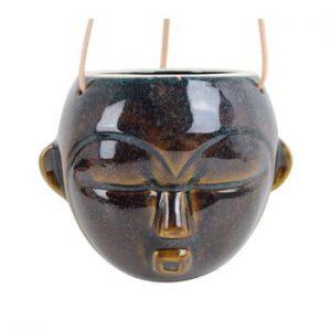Ghiveci suspendat PT LIVING Mask, inaltime 15,2 cm, maro inchis