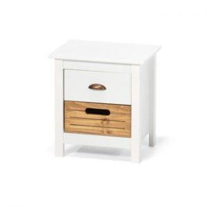 Noptiera din lemn de pin cu 2 sertare loomi.design Ibiza, alb