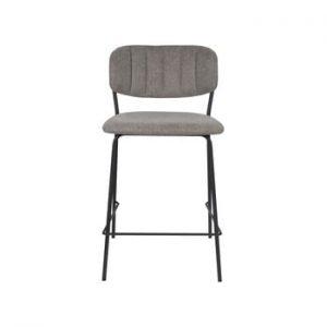 Set 2 scaune de bar cu picioare negre White Label Jolien, inaltime 89 cm, gri