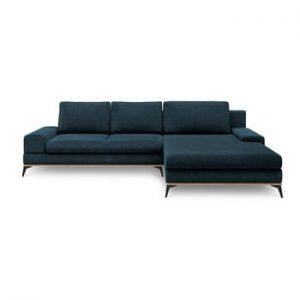Canapea extensibila de colt Windsor & Co Sofas Planet, pe partea dreapta, albastru petrol