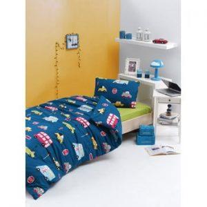Lenjerie de pat din bumbac ranforce pentru pat de 1 persoana Mijolnir Paula Blue, 140 x 200 cm