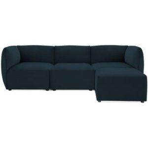 Canapea modulara cu 3 locuri si suport pentru picioare Vivonita Velvet Cube, bleumarin