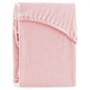 Cearsaf elastic pentru pat dublu AmeliaHome Ruby Peach, 180-200 x 200 cm, roz deschis