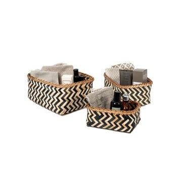 Set 3 cosulete de depozitare din bambus Compactor Natural And Black