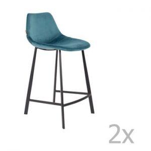 Set 2 scaune bar cu tapiterie catifelata Dutchbone, inaltime 91 cm, albastru petrol