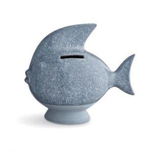 Pusculita din gresie Kähler Design Moneybank Fish, albastru deschis