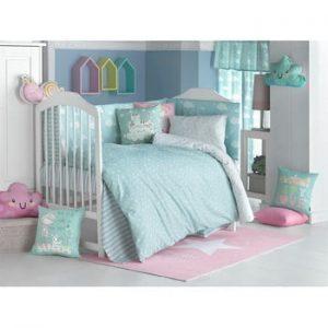 Lenjerie de pat cu cearceaf pentru copii Apolena Carino, 100 x 150 cm, turcoaz