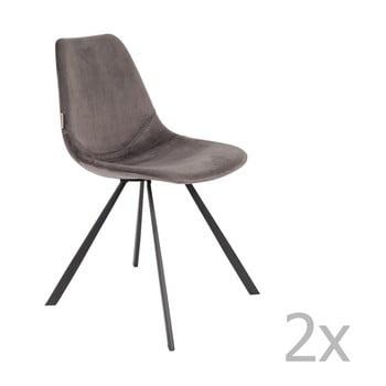 Set 2 scaune cu tapiterie catifelata Dutchbone Franky, gri