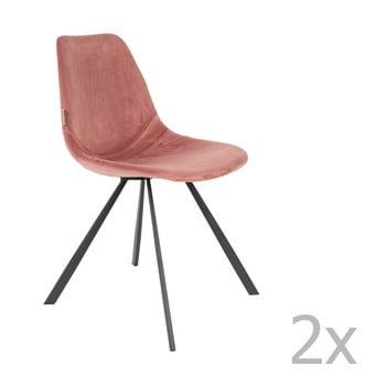 Set 2 scaune cu tapiterie catifelata Dutchbone Franky, roz antic