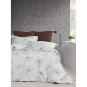 Lenjerie si cearsaf din bumbac satinat pentru pat dublu Fiori, 200 x 220 cm