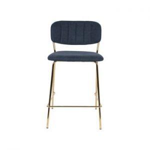 Set 2 scaune de bar cu picioare aurii White Label Jolien, inaltime 89 cm, albastru inchis
